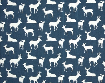Deer curtains navy blue deer curtains blue white deer premier print fabrics 25 inches wide 63, 72 or 84