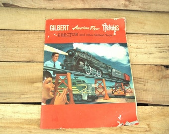 Free  Shipping  Vintage Gilbert American Flyer Train s Catalog  Erector Chemistry 1954 mancave