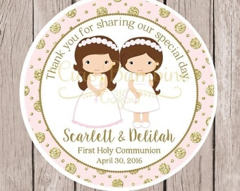 PRINTABLE First Holy Communion Favor Tags / Communion Tags in Pink & Gold for Twins, Siblings, Cousins / Choose Hair Color / You Print HC12