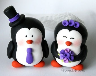 Custom Penguin Cake Topper Wedding