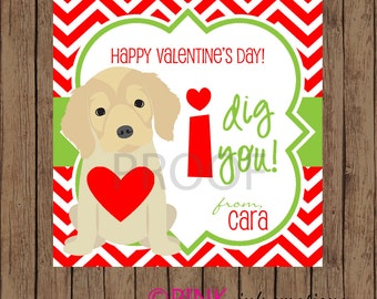 PUPPY Valentine Favor Tags / I Dig You Favor Tags / Valentine Favor Tags / Dog Valentine Tags / Valentine Tags / PRINTABLE / Set of 12