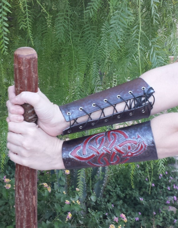 Hand Tooled Leather Bracers (pair)- Celtic Red Dragon with black background