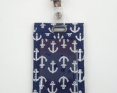 Blue and Silver Nautical Vertical ID Badge Holder