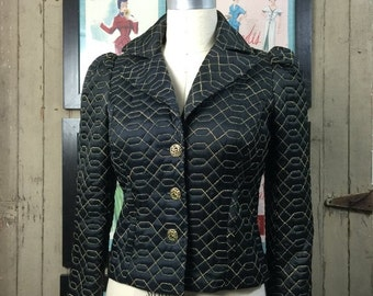 Sale Betsey Johnson jacket black satin jacket fitted vintage jacket size small quilted puff shoulders