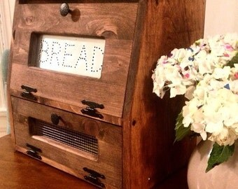 Rustic Bread Box Vegetable Bin Wooden Punched Tin Storage Primitive Wood  Cupboard Onion Potatoes Country Kitchen