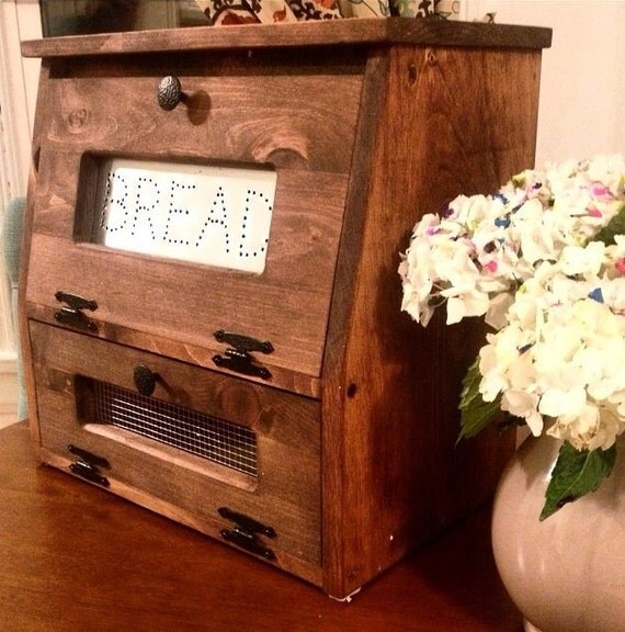 rustic bread box vegetable bin wooden punched tin storage. Black Bedroom Furniture Sets. Home Design Ideas