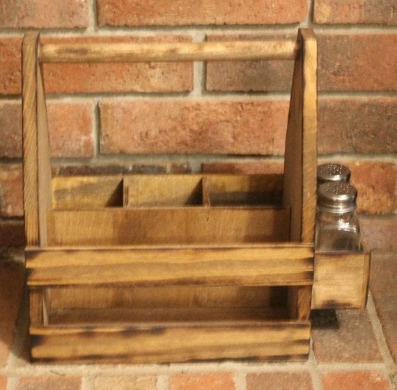 Monogram letter wood table caddy utensil carrier napkin for Furniture 6 letters