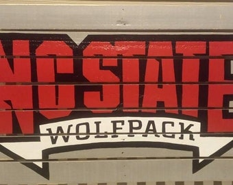North Caroline State Wolfpack - NC State Reclaimed Wood Sign - Handmade