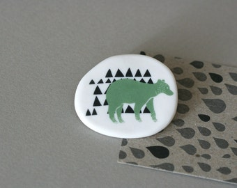 Forest Bear - Porcelain Brooch