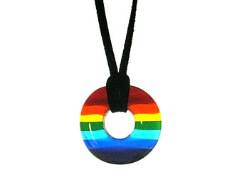 Rainbow Pendant, Glass Donut Pendant Necklace, FT