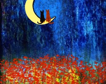 Black Orange Tabby Cat LARGE Folk Art Print Todd Young painting STAR GAZING