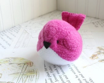 Dark Pink Plush Bird Stuffed Animal Childrens Handmade Fleece Bird