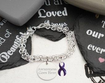 Alzheimers, Chiari Malformation, Lupus, Pancreatic Cancer, Dometis Violence  Purple Awareness Ribbon Charm Bracelet #e3