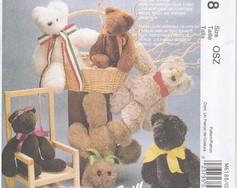 McCalls 6188 Stuffed Animals Teddy Bears Bunny Rabbit Lamb Easy Sewing Pattern Out of Print UNCUT
