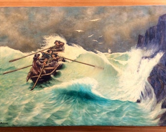 Large Ship Painting, 2ft x 3ft Vintage Nautical Art. 1960s Oil on Canvas. Rowboat on Stormy Seas. Shipwreck, Sailing Ship Painting.