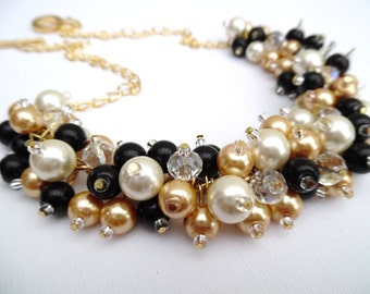 Chunky Pearl Necklace, Black Gold and Ivory, Bridesmaid Jewelry, Cluster Necklace, Bridesmaid Gift, Bridesmaid Necklace, Black Necklace