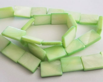 Green Shell Rectangle Beads 14mm by 10mm 29 beads