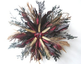 Red Black Gold Dried Wheat Starburst Wreath