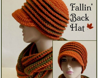 Fallin' Back Hat ~ Crochet Pattern
