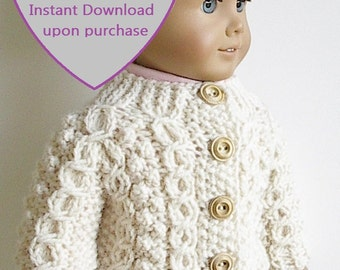 "PDF KNITTING PATTERN for 18"" Dolls Handknit Irish Fisherman Cable Sweater Wishbone Design by Lavenderlore - Permission to Sell Finished Item"
