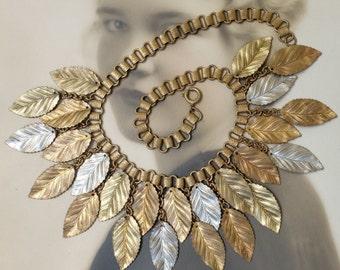 Vintage Book Chain Metal Leaf Linked Necklace