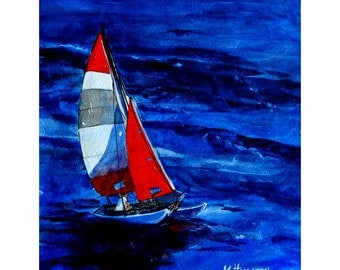 Ocean Sailing Print, Catamaran, Boat Art Wall Decor, Red Sail, Blue Ocean, Sailing the Cat