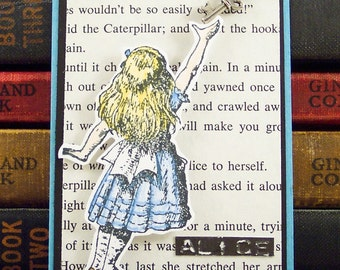 Alice In Wonderland ACEO - Reaching for the Key - ATC Collage Art Card - Mixed Media Book Mark - Lewis Carroll