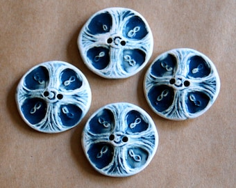 4 Handmade Buttons - Large Celtic Cross Buttons in Denim Stoneware