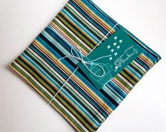 Hampton Cloth Cocktail Napkins / striped cocktail napkin / blue striped napkins / blue and olive green napkins / eco reusable drink napkins