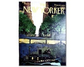 New Yorker Magazine Cover ONLY Vintage Original artist Getz 7-17-71 New York Tunnel boat CONDITION  ISSUES