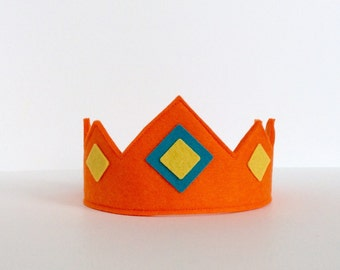 Wool Felt Crown -- orange crown with felt jewels