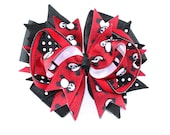 Boutique Red and Black  Hair Bow  Panda Bear