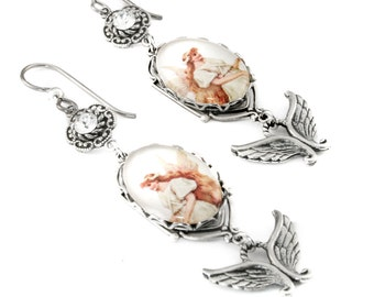 Silver Angel Fairy Earrings with Crystals, The Angel and Fairy Queen Photo Jewelry, Vintage Image Glass Drop Earrings