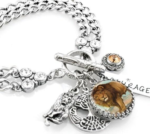 Engraved Charm Bracelet: Lion Jewelry Personalized Lion Bracelet Engraved Lion Charm