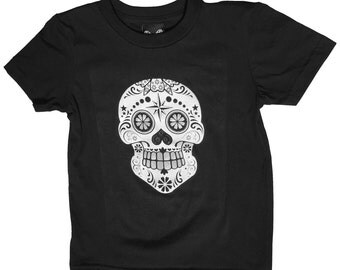 Sugar Skull Black White and Silver Ink - Kid's T Shirt - 7 sizes available. Handmade. Cool  punk  funny clever rock and roll