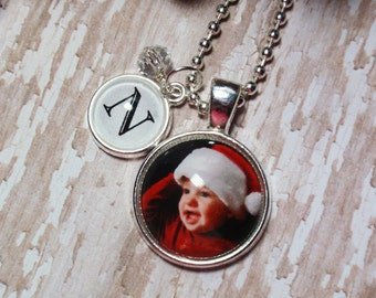 Round Mini Glass Bubble Custom Photo Pendant Necklace With Tiny Initial & Crystal Dangle Charms- Custom Photo Necklace