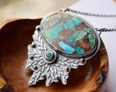 Copper Turquoise Statement Necklace, Handcrafted Artisan Silver Necklace, Modern Boho Style Jewelry, Topaz Necklace, One of a Kind