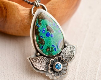 Silver Azurite Statement Necklace, Handcrafted Metalwork, Botanical Necklace, Metalsmith Jewelry, Natural Stone Pendant, Artisan Necklace