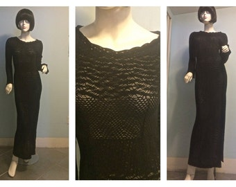 Vintage 80s Knit Emanuel Ungaro Maxi stertch Bodice dress  SMALL