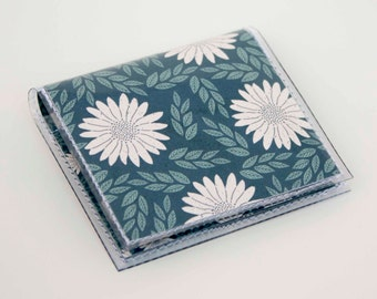 Handmade Vinyl Moo Square Card Holder - Daisy Blue / case, vinyl, snap, wallet, paper, mini card case, moo case, square, floral, blue