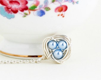 New Mommy Baby Shower Gift - Silver Bird Nest Pendant - Blue Pearl Necklace - Gift For Mom or Expectant Mom - Wire 3 Eggs Nest Necklace