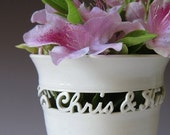 Personalized Wedding Gift - Handmade Vase for Wedding, Anniversary or Commitment Ceremony - 2 names & date