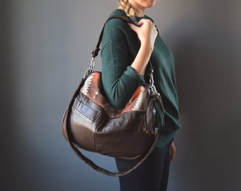 The TUNDRA leather bag // brown leather bag with southwestern aztec print