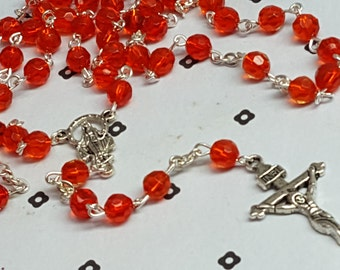 Red Handmade Catholic Rosary
