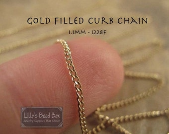 Labor Day SALE - Gold Curb Chain - 3 Feet Gold Filled  @ 1.1mm, Chain for Jewelry Making Supplies  (1228f)