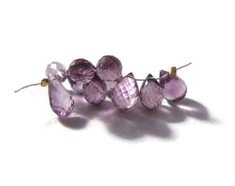 BIRTHDAY SALE - Ten Amethyst Beads, Pink Amethyst Gemstones, 8x6mm-13x7mm, 10 Stones for Making Jewelry (Luxe-Am2e)