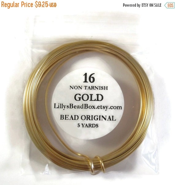 May SALE Gold Plated Wire, 16 Gauge Round Wire for Making Jewelry, Non Tarnish Wire, Wire Wrapping Supplies, 5 Yard Spool
