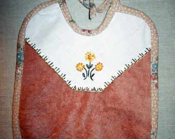 Terrycloth Baby Bib with upcycled vintage embroidery