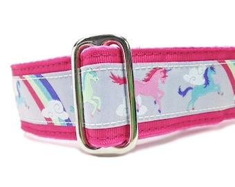 "1.5"" Dog Collar Unicorns Pink - Choose Your Collar Style!"