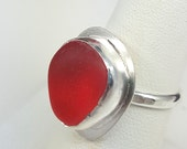 Red Sea Glass Ring Red English Sea Glass Red Beach Glass Sea Glass Jewelry Beach Glass Jewelry Size 7 - R-080